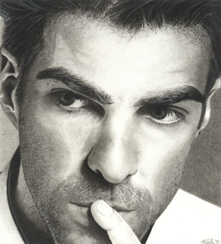 Zachary Quinto Charcoal Pencil Drawing, 2012