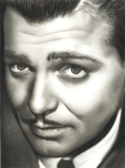 Natalia Faulkner, Charcoal, Art, Pencil, Sketch, Graphite, Face, Portrait, Custom, Drawing, Clark Gable,