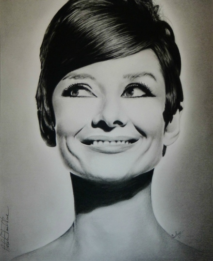 Audrey Hepburn Charcoal Pencil Drawing