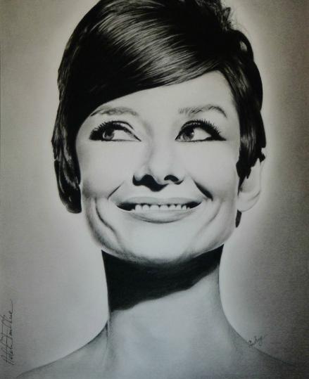 Audrey Hepburn Charcoal Pencil Drawing