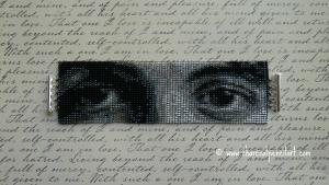 Paul McCartney Eyes Beaded Art Square Stitch Wide Cuff Handmade Bracelet