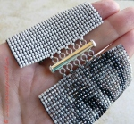 Rufus Wainwright Eyes Handmade Beaded Art Wide Cuff Square Stitch Bracelet with Sterling Silver Bar Clasp, Version 2.0