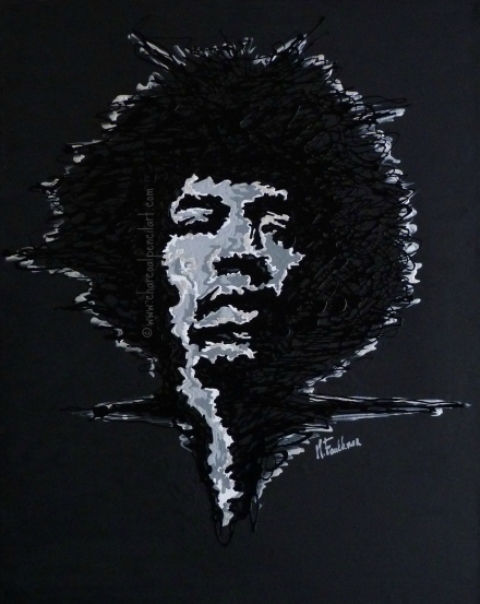 Jimi Hendrix Acrylic Drip Paint on Canvas