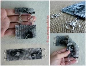 Eyes Portrait Beaded Art Square Stitch Wide Cuff Handmade Bracelet