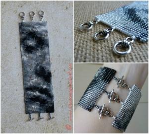 Rufus Wainwright Portrait Beaded Art Wide Cuff Handmade Square Stitch Bracelet