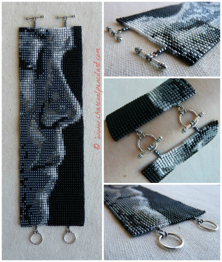 Rufus Wainwright Profile Handmade Beaded Art Wide Cuff Bracelet with Sterling Silver Toggles, v. 3.0