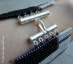 A Study in Amethyst - Piano Keys Beaded Art Handmade Square Stitch Wide Cuff Bracelet with Sterling Silver 5 Ring Tube Hook Clasp, v. 2.0, One Of A Kind