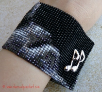 'Amethyst Rufus' Wide Cuff Beaded Art Square Stitch Handmade Bracelet with a Cufflink Closure