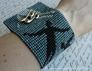 Muse's 'Absolution' Cover Art Handmade, Beaded, Square Stitch, Wide Cuff Bracelet. One of a Kind.