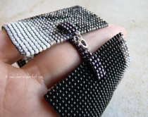 Rufus Wainwright Profile Handmade Beaded Art Square Stitch Wide Cuff Bracelet, One of a Kind, Version 3.0