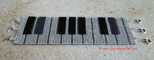 Study in D# - PIANO Beaded Art Handmade Square Stitch Bracelet with Three Toggle Clasps, One Of A Kind