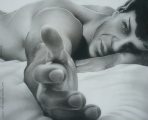 'Come Hither Gesture' Charcoal Pencil Drawing, 2012