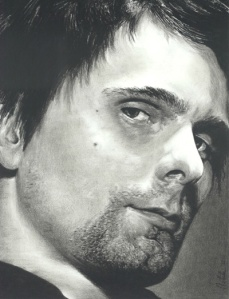Matt Bellamy of Muse Charcoal Pencil Drawing, 2012