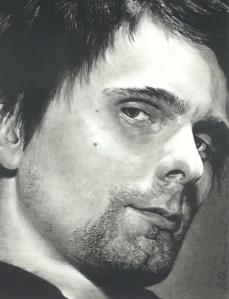 Matt Bellamy of Muse Charcoal Pencil Drawing, 2012