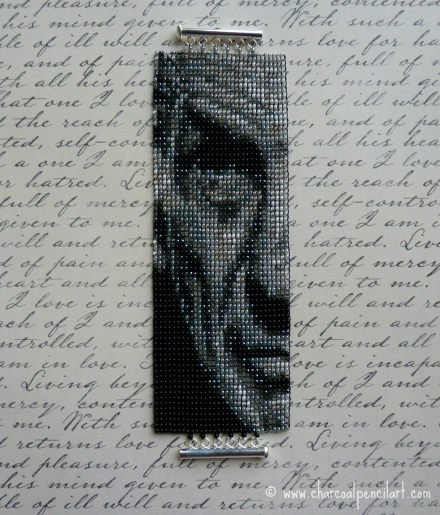 Leonard Nimoy as Spock Prime Beaded Art Wide Cuff Square Stitch Bracelet with Sterling Silver Tube Clasp. One of a Kind.