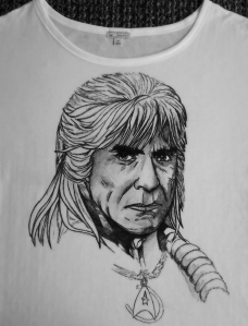 Khan, TOS, Star Trek, TWoK, The Wrath of Khan, Ricardo Montalban, Khan Noonien Singh T-shirt, Shirt, Hand painted, Drawing, Sketch, Ink, Waterproof, Custom, Handmade,