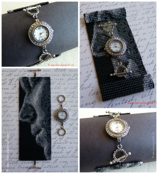 Rufus Wainwright Handmade Watch set on a Wide Cuff Beaded Art Square Stitch Bracelet, One of a Kind