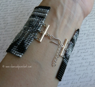 FLUTE Handmade Beaded Art Square Stitch Wide Cuff Bracelet with Sterling Silver Hook Closure, One of a Kind