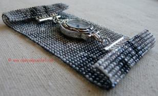 Rufus Wainwright Handmade Watch set on a Wide Cuff Beaded Art Square Stitch Bracelet, One of a Kind