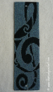 Treble Clef Beaded Art Wide Cuff Square Stitch Bracelet, Handmade, One of a Kind