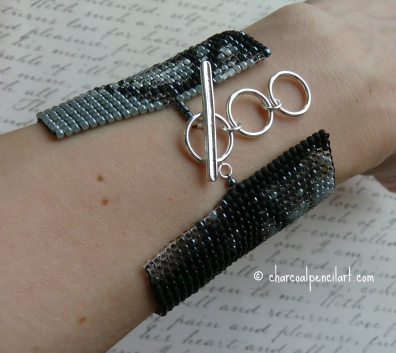 Chris Corner IAMX Eyes Beaded Art Square Stitch Wide CuffBracelet with Sterling Silver Adjustable Toggle, 2013