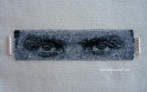 Rammstein, Till Lindemann, Eyes, Beaded, Art, Wide, Cuff, Square Stitch, Bracelet, Jewelry, Handmade, Sterling Silver, One of a Kind, Beaded Bracelet,