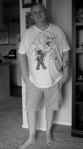 'Forbidden Planet' Robbie the Robot and the ID Monster, Natalia Faulkner Art, Ink, Art, Handmade, Hand painted, ID Monster, Robbie the Robot, Forbidden Planet, Shirt, T-shirt, tshirt, Cotton, waterproof, India Ink,