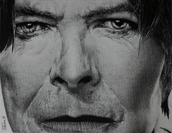 David Bowie - Eyes of a Starman, India Ink on Canvas Drawing